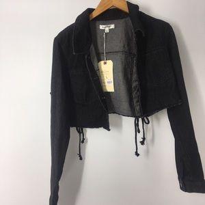 Wild honey cropped jean jacket large